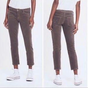 Mother The Looker Brown Rust Crop Skinny Jeans